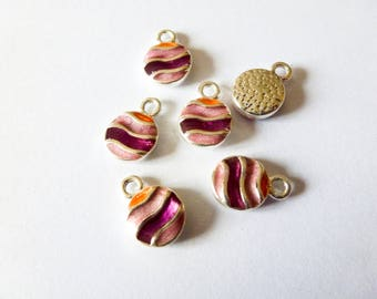 5 round charms 8mm silver plated and enamel purple and orange epoxy (ABBA03)
