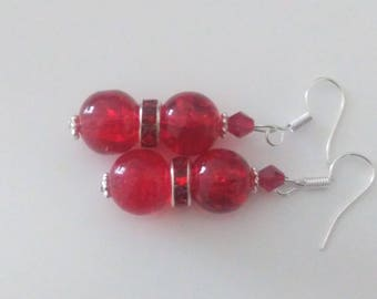 Princess earrings in red - small selection price.