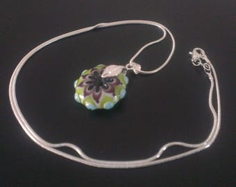 Gorgeous silver Lampwork pendant + bail and chain beads