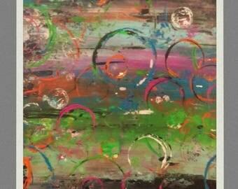 Modern art painting abstract 24 x 12  rainbow fluorescent/ art moderne peinture abstrait