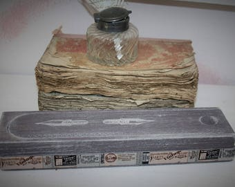Old weathered wood pencil box