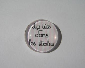 "Cabochon 20 mm with the Scripture ""head in the stars"""