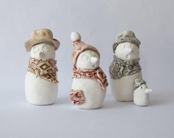 3 snowmen ceramic white matte and Brown, gray, red enamel