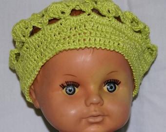 Green girl beret crocheted