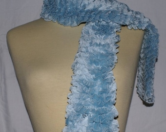pastel Blue Ribbon knit ruffled scarf