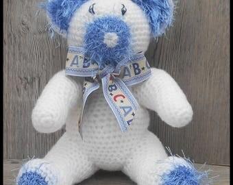Crochet Teddy bear: blue and white