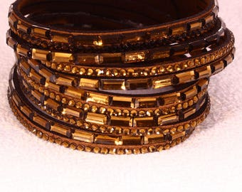 Bracelet multi row suede and leather color rhinestone gold chocolate 40x20mm