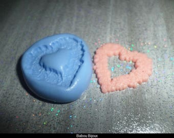 New! Mold for your polymer clay frame heart pink 2.5 cm