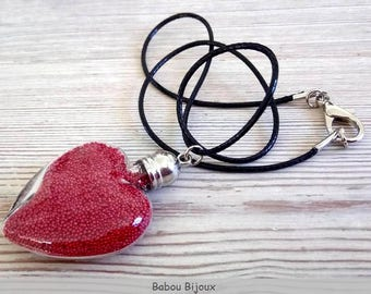 Filled glass vial pendant necklace