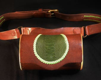 leather bag and belt - cypress wood