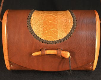 bag leather ostrich wood