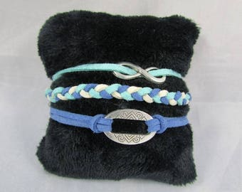 "Multi row bracelet ""blue, beige, rose""-REF BMR002"