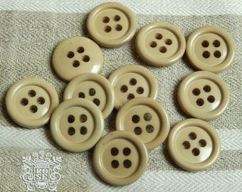 "12 Small Beige Round Buttons - 4 Holes - 0,59 "" Diameter - set of Buttons for Vests, Cardigan Buttons, Shirt Buttons"