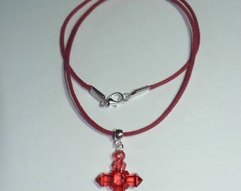 Red waxed cotton necklace with Ruby Red transparent