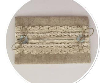 CASE HAS HANDKERCHIEF LINEN AND LACE WITH SATIN RIBBON