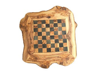 Made from olive wood rustic chess game