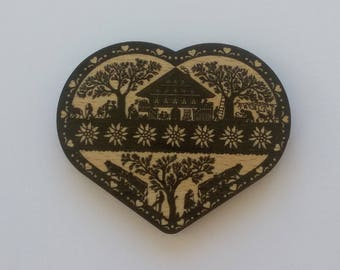 Magnet (magnet) poya, heart shaped wooden cut