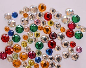 Rhinestone round set of 100 mixed stick: mixed diameter - 002120