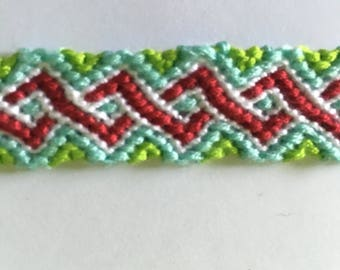 Green, blue, red and white Friendship Bracelet