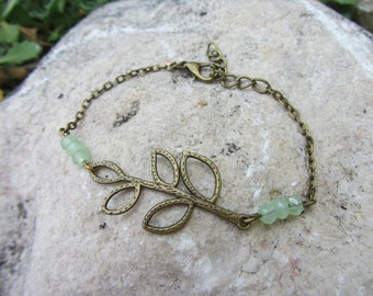 chain bracelet with spacer long leaf bronze metal and water green glass beads, plant spirit, nature green and bronze