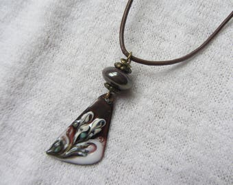 Necklace Choker brown leather cord and copper pendant enameled and chocolate brown ceramic rondelle iridescent white