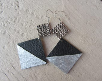 Modern and geometric earrings with diamonds and triangles of black and silver, spacer leatherette engraved silver metal