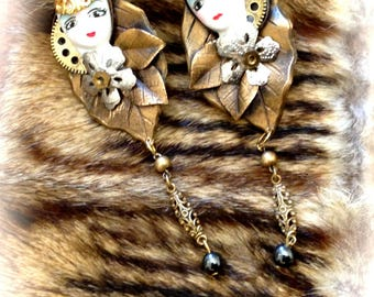 Vintage steampunk clock of the Feeraille clip earrings