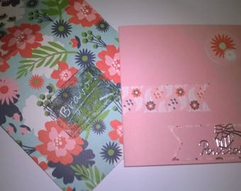 Map theme congratulations on your studies flowery pink background
