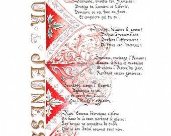 """Enluminure poème français // Format medium // Impression sur papier d'art // Style calligraphie gothique // Moderne et Or // """"Jeunesse"""""""