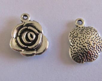 2 silver charms flower 17mmx14mm