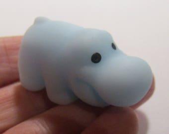 anti stress silicone soft hippopotamus blue