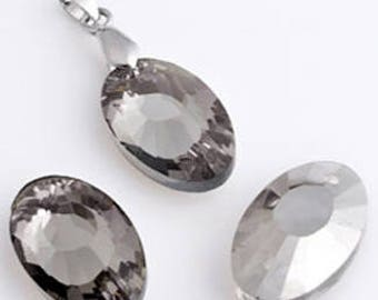 oval Crystal with facets and sparkle 22x14x8mm dimensions 12 beads