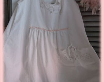 VINTAGE SHABBY CHIC DRESS EMBROIDERED LACY MONOGRAM