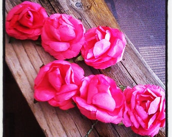 Roses - paper flowers set of 6 fuchsia for Scrapbooking - crafts