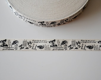 "Vintage ""butterfly/writing"" pure cotton 25 mm Ribbon"