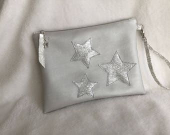 Makeup Kit in faux leather gray Pearl, silver stars