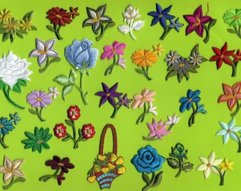set of 30 assorted iron-on embroidered flowers