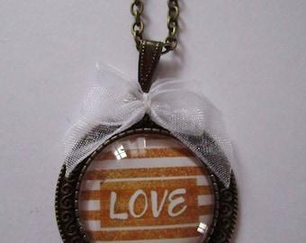 """Necklace """"Precious love II"""", bronze cabochon, costume jewelry"""