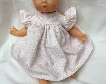 White and pink doll dress, doll 30 cm
