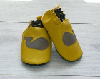 Slippers size 20 yellow grey whale