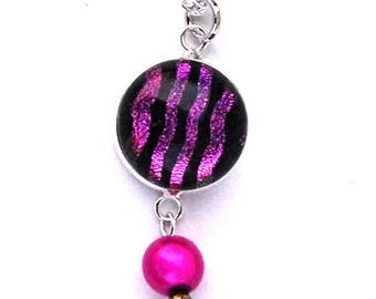 Handmade mid-long necklace in pink, purple - Dichroic Glass Fusing - single model
