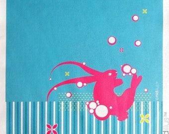 Coupon en polycoton T20 -  Lapin et bulles - rose et bleu