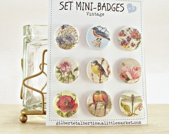 "Mini badges 25 mm / ""Vintage""."