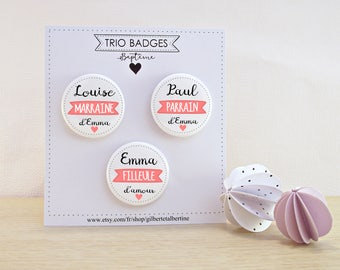 Trio (e) Godfather/godmother/godchild badges 3.8 cm / name