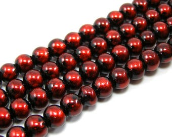 Set of 20 glossy 8 mm red glass beads