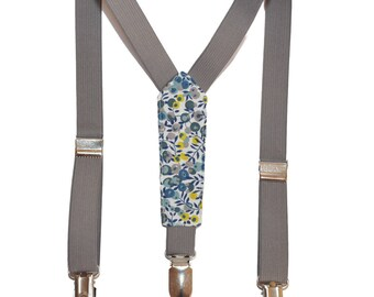 Straps child fabric Liberty Wiltshire Mimosa and gray elastic