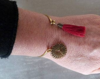 Deep red fabric tassel and gold charm, Annette collection Bangle Bracelet