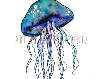 Punny Watercolour and Digital Design Jellyfish Illustration