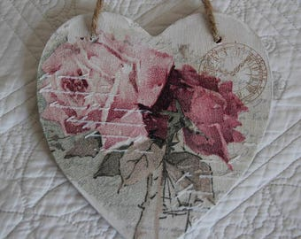 Decorated hanging wooden heart