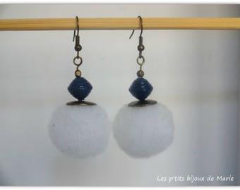 White tassel and blue paper bead earrings